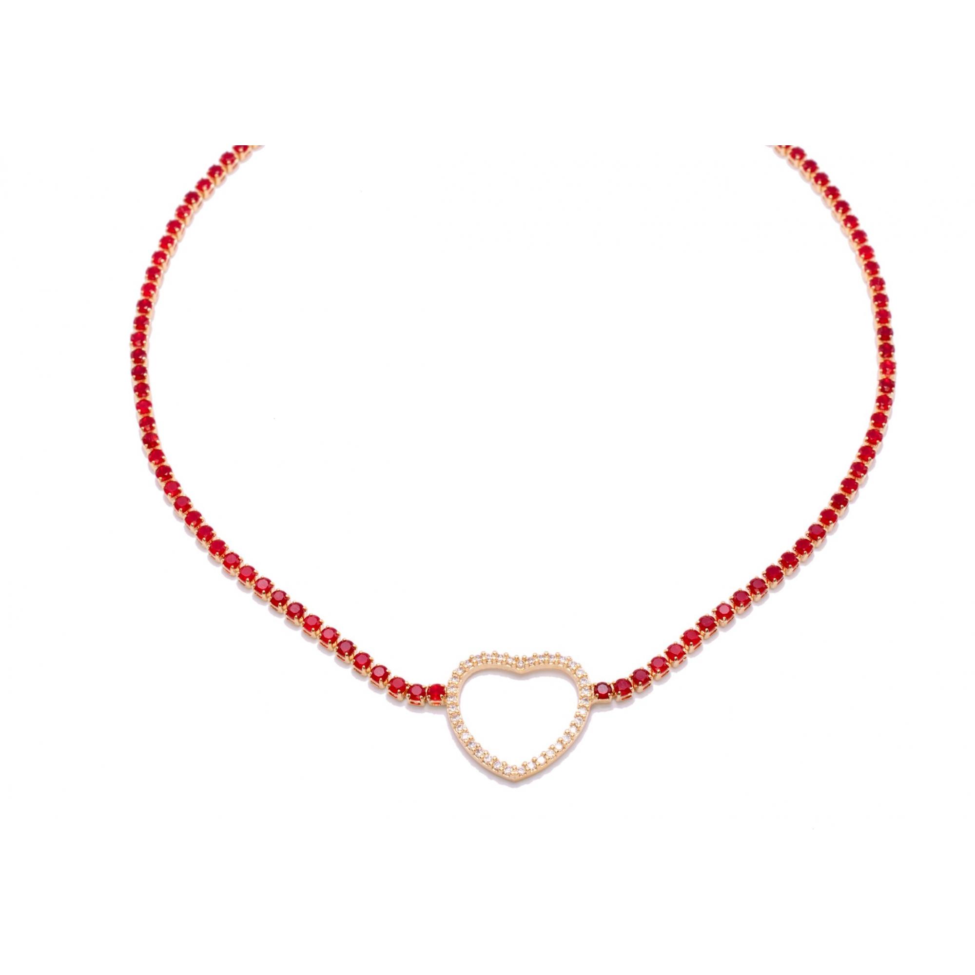 Colar Choker Coração com Zircônias Vermelhas Folheado em Ouro 18k