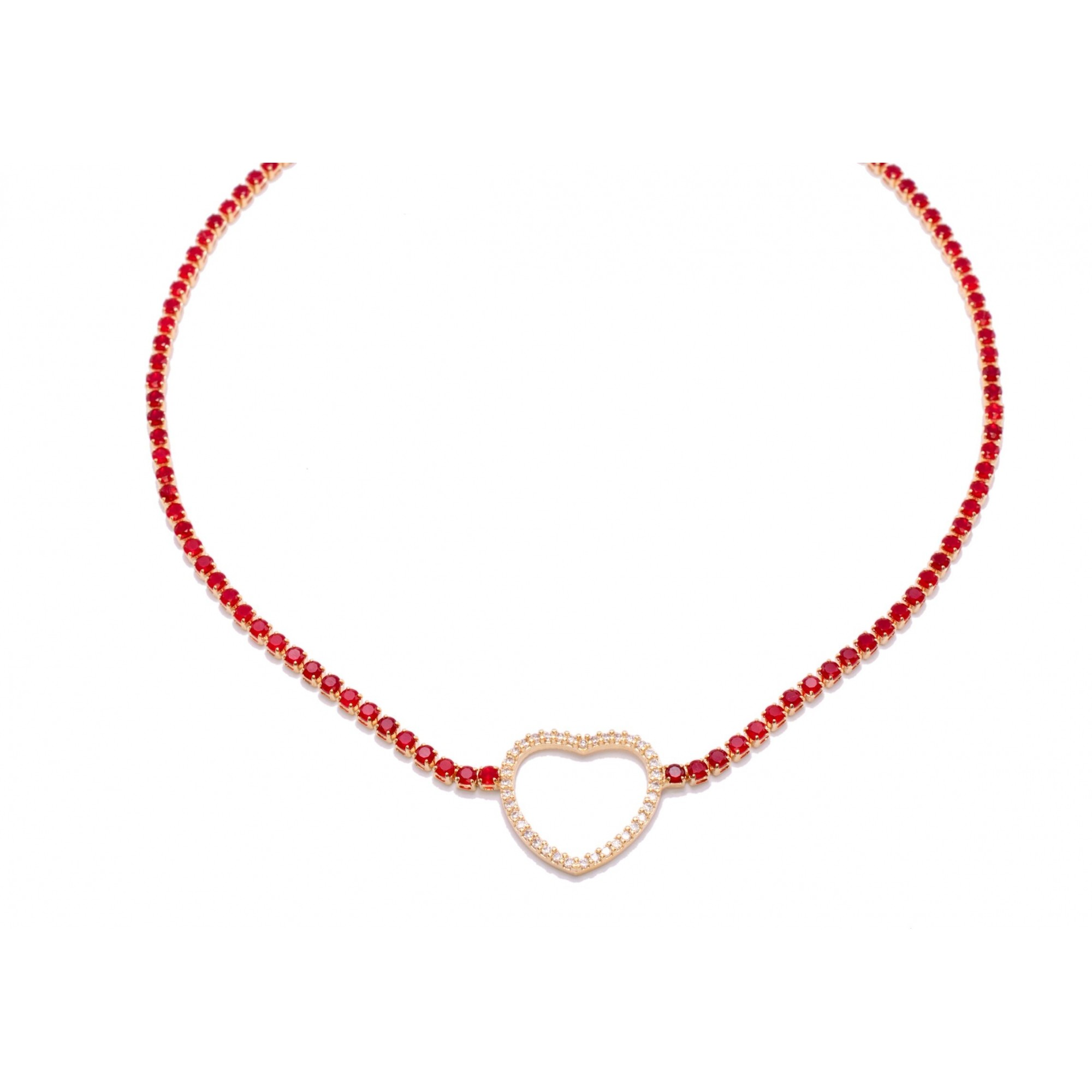 Colar Choker Coração com Zircônias Vermelhas Folheado em Ouro 18k - Giro Semijoias