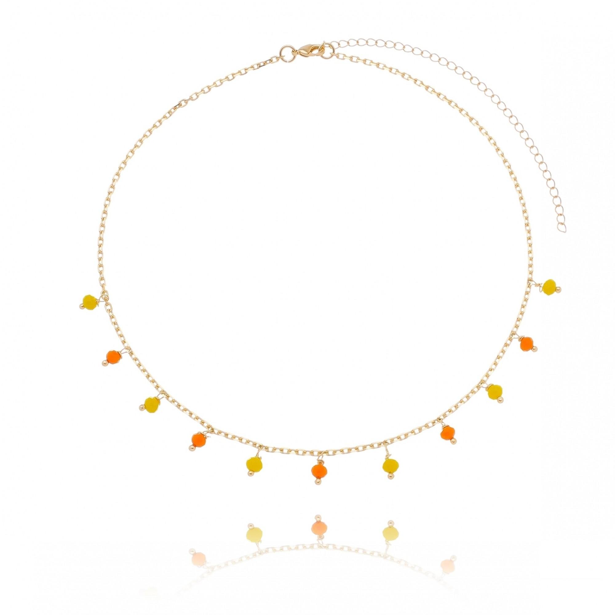 Colar Choker Elos Cartier com Miçangas Laranja e Amarelas Folheado em Ouro 18k - Giro Semijoias