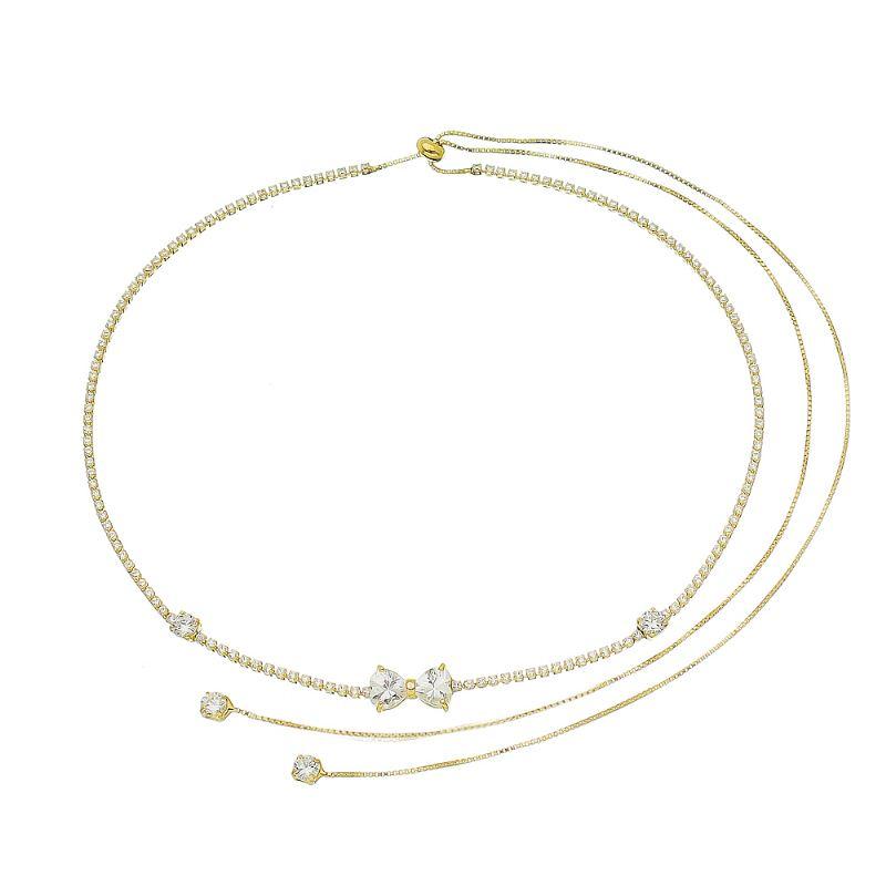 Colar Choker Gravata com Laço Pontos de Luz em Zircônias Folheado em Ouro 18k - Giro Semijoias