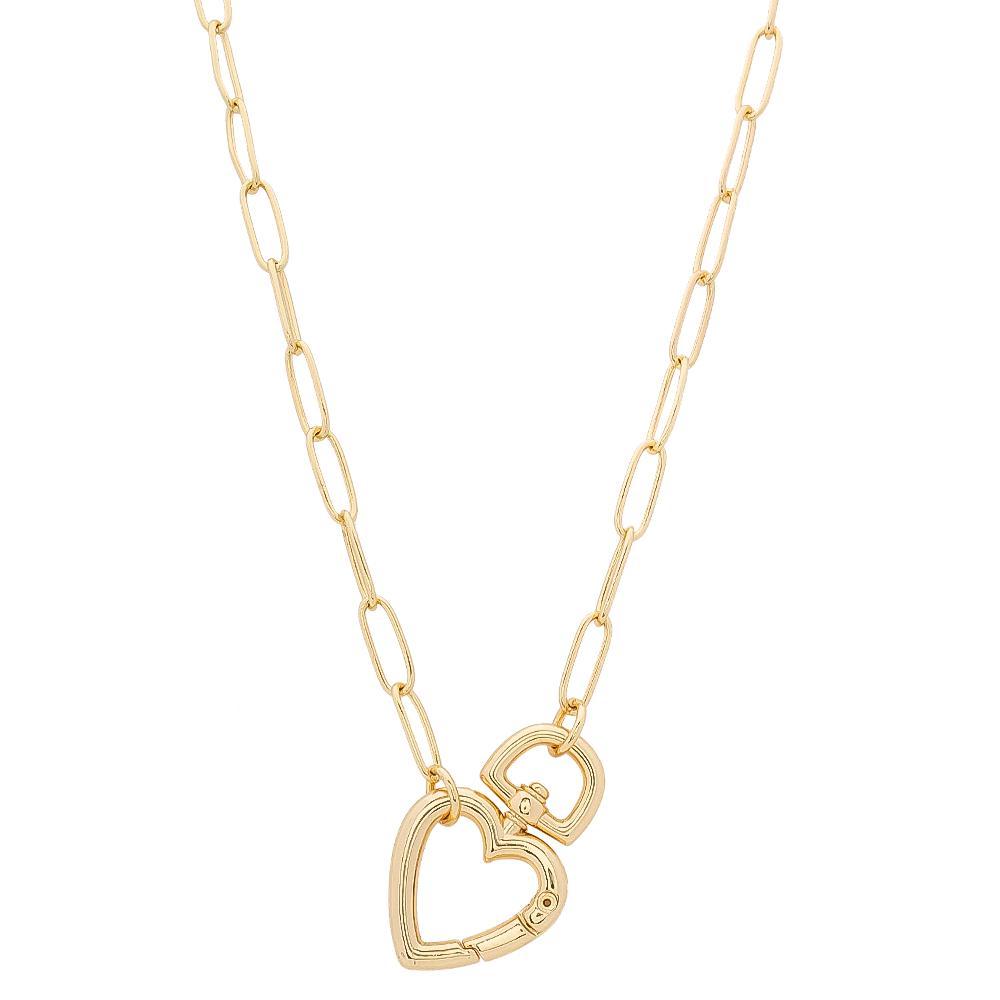 Colar com Elos Cartier e Fecho de Coração Folheado em Ouro 18k - Giro Semijoias