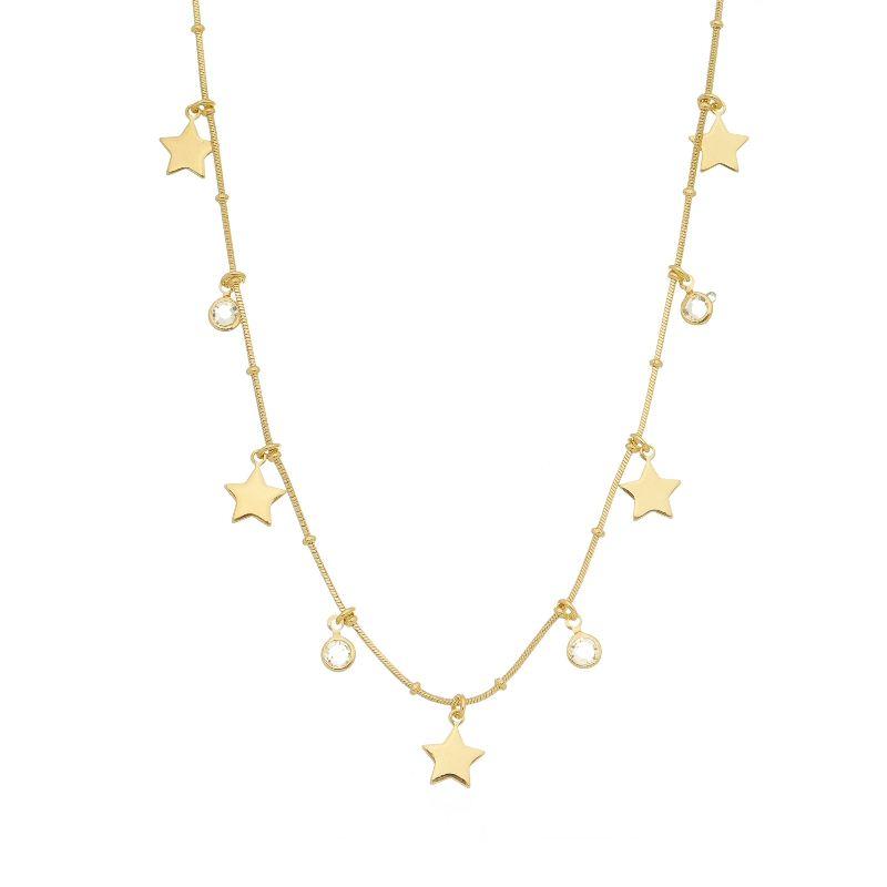 Colar com Estrelas e Pontos de Luz Folheado Ouro 18k