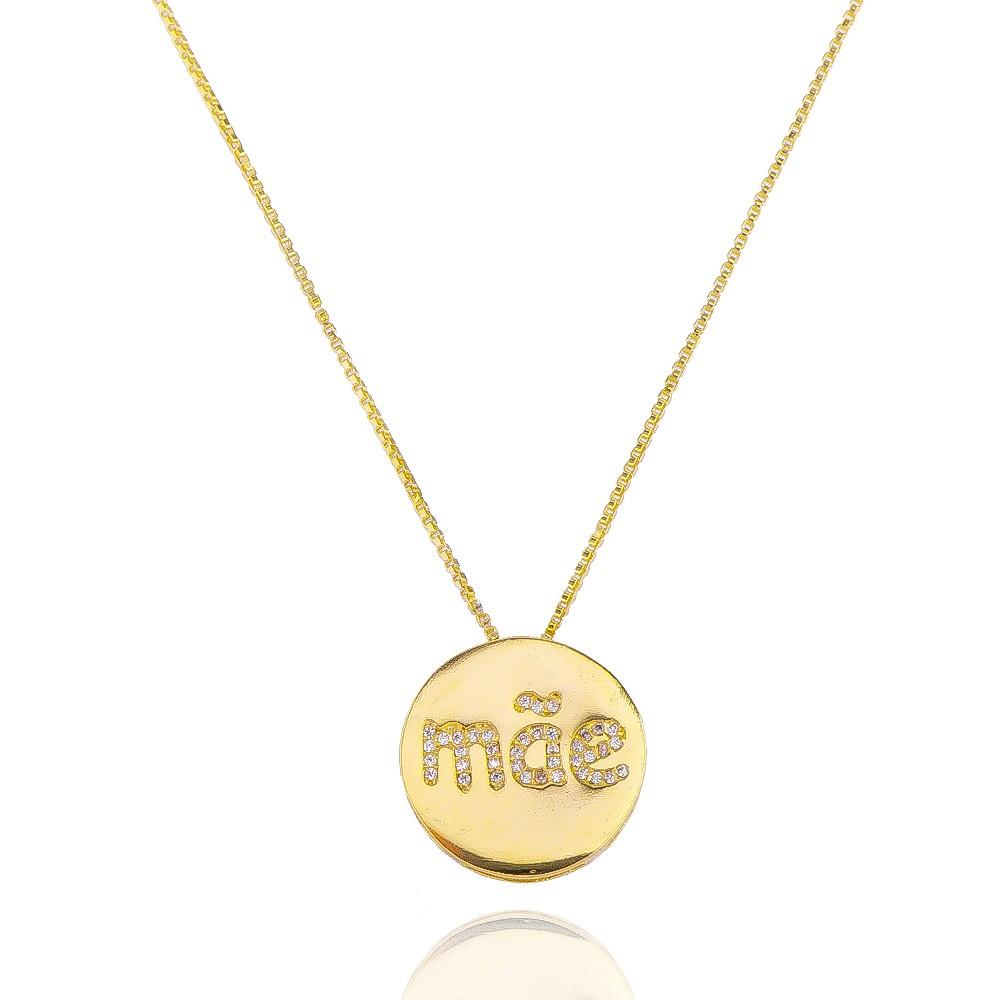 Colar com Mandala Mãe com Pedras em Zircônias Folheado em Ouro 18k - Giro Semijoias