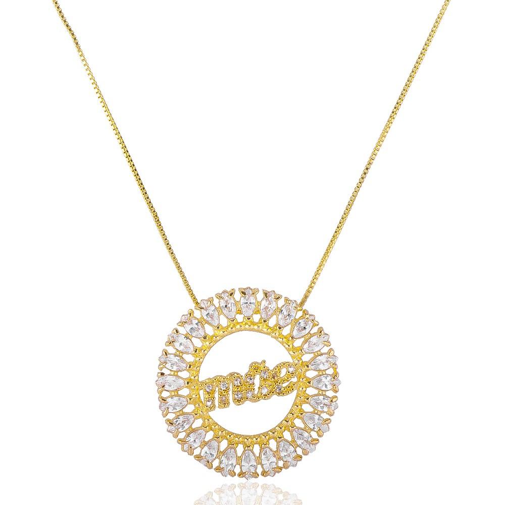Colar com Mandala Mãe Cravejado com Navetes em Zircônias Folheado em Ouro 18k - Giro Semijoias