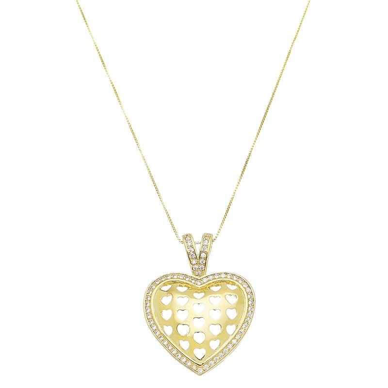 Colar com Pingente de Coração Vazado de Corações Cravejado em Zircônias Folheado em Ouro 18k - Giro Semijoias