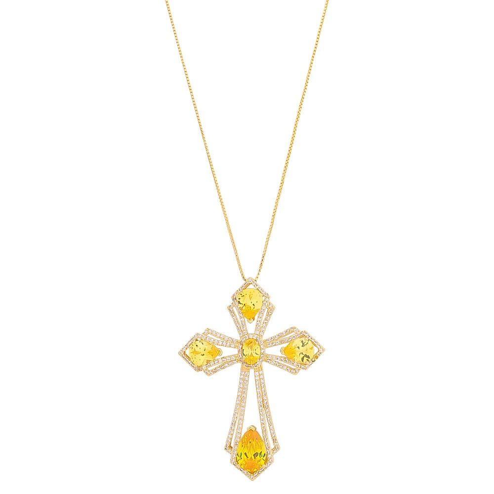 Colar com Pingente de Cruz Cravejado em Zircônias e Cristal Amarelo Folheado em Ouro 18k - Giro Semijoias