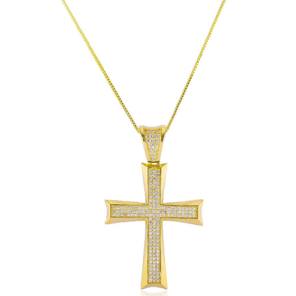Colar com Pingente de Cruz Cravejado em Zircônias Folheado em Ouro 18k