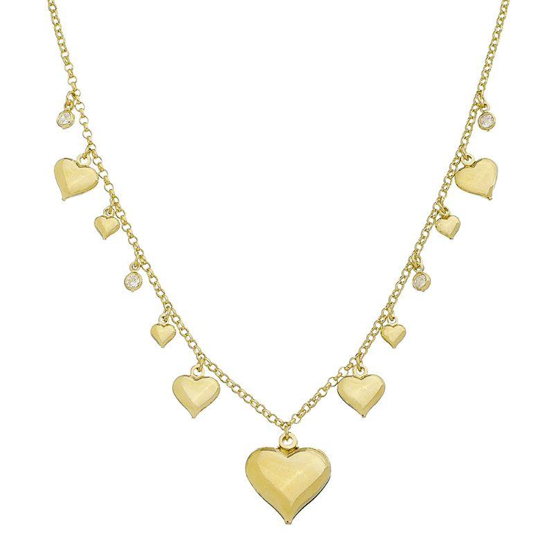 Colar com Pingentes de Corações e Pontos de Luz Folheado em Ouro 18k - Giro Semijoias
