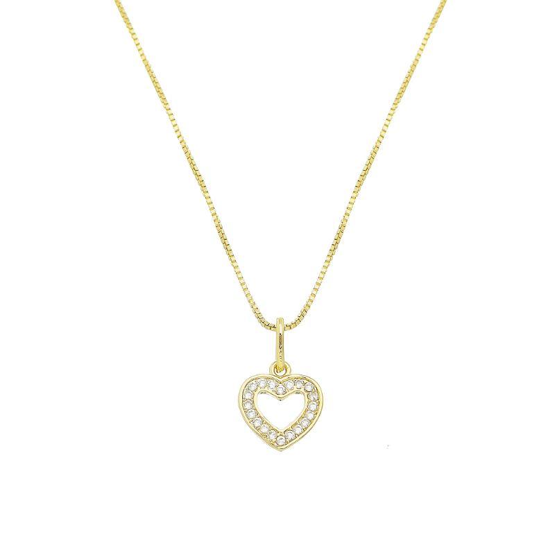 Colar Coração C/ Zircônia Vazado Ouro 18k