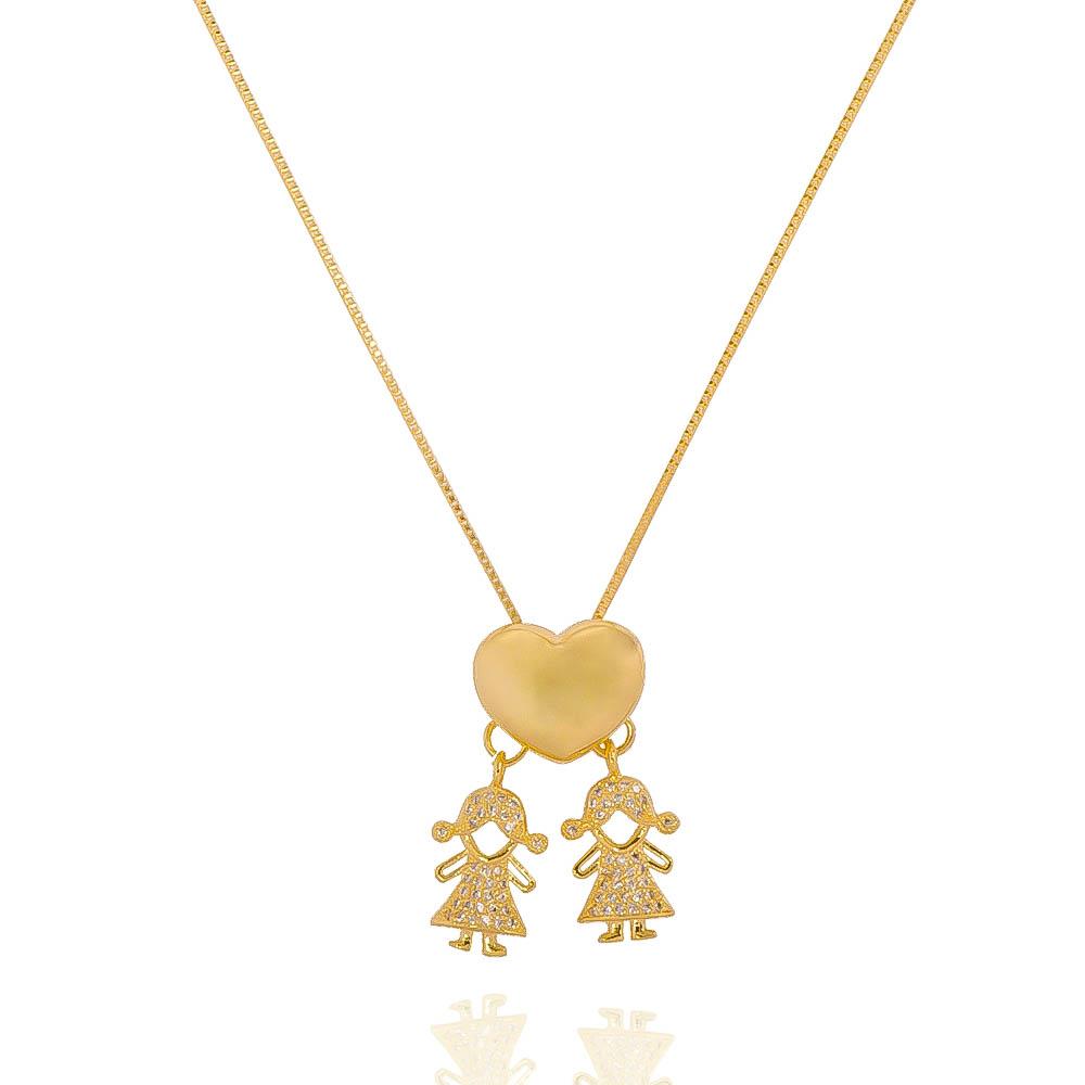 Colar Coração Duas Meninas Cravejado em Zircônias Folheado em Ouro 18k
