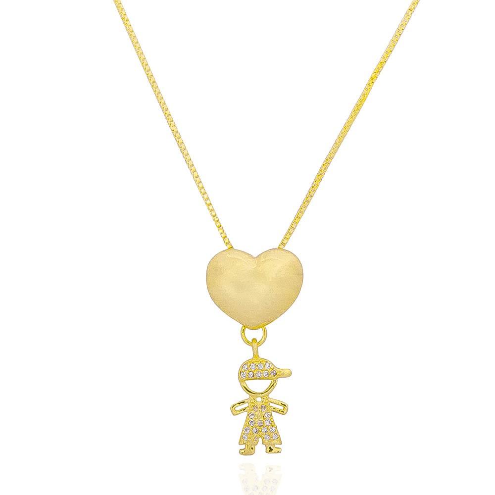 Colar Coração e 1 Filho com Zircônias Ouro 18k - Giro Semijoias