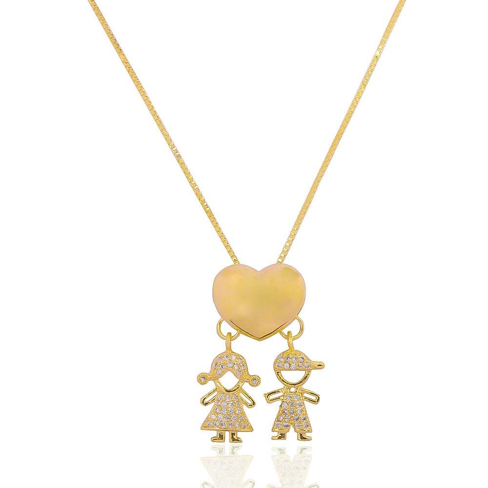 Colar Coração e 2 Filhos Casal com Zircônias Ouro 18k - Giro Semijoias