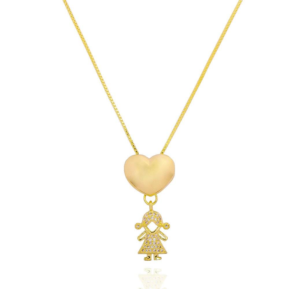 Colar Coração Menina Cravejado em Zircônias Folheado em Ouro 18k - Giro Semijoias