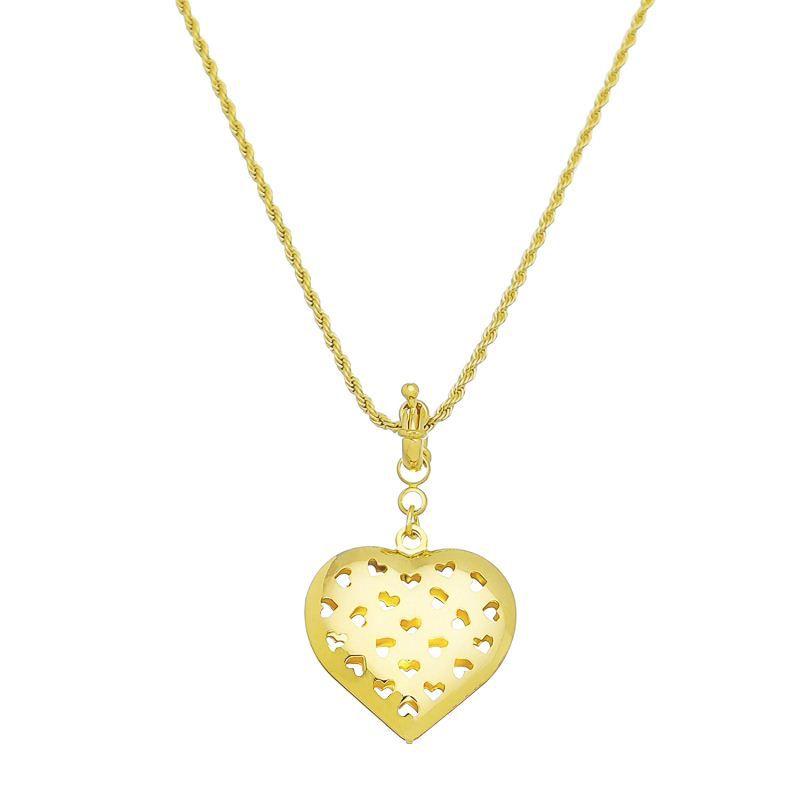 Colar Coração Vazado de Corações Ouro- Giro Semijoias