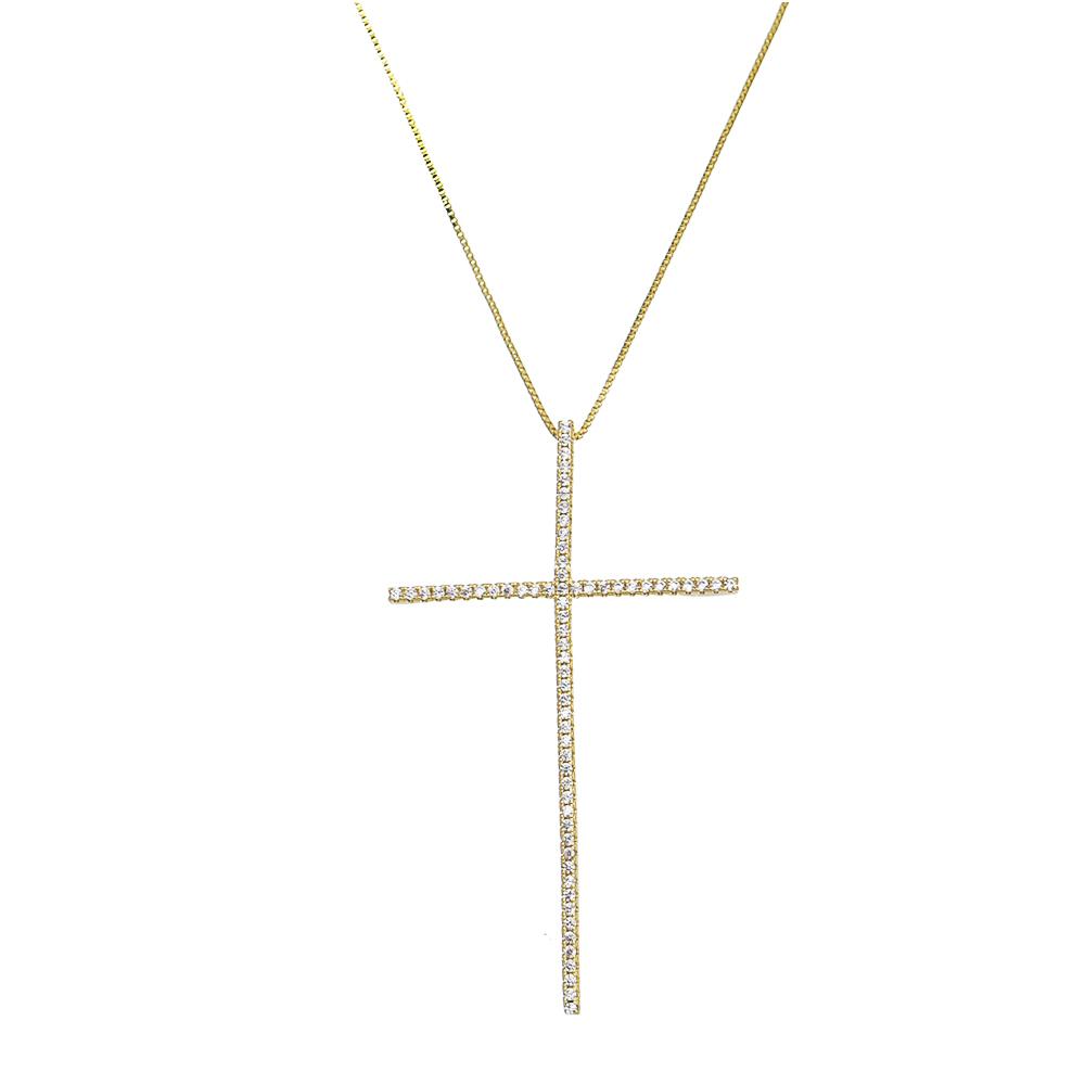Colar Cruz C/ Zircônia Incolor Ouro 18k