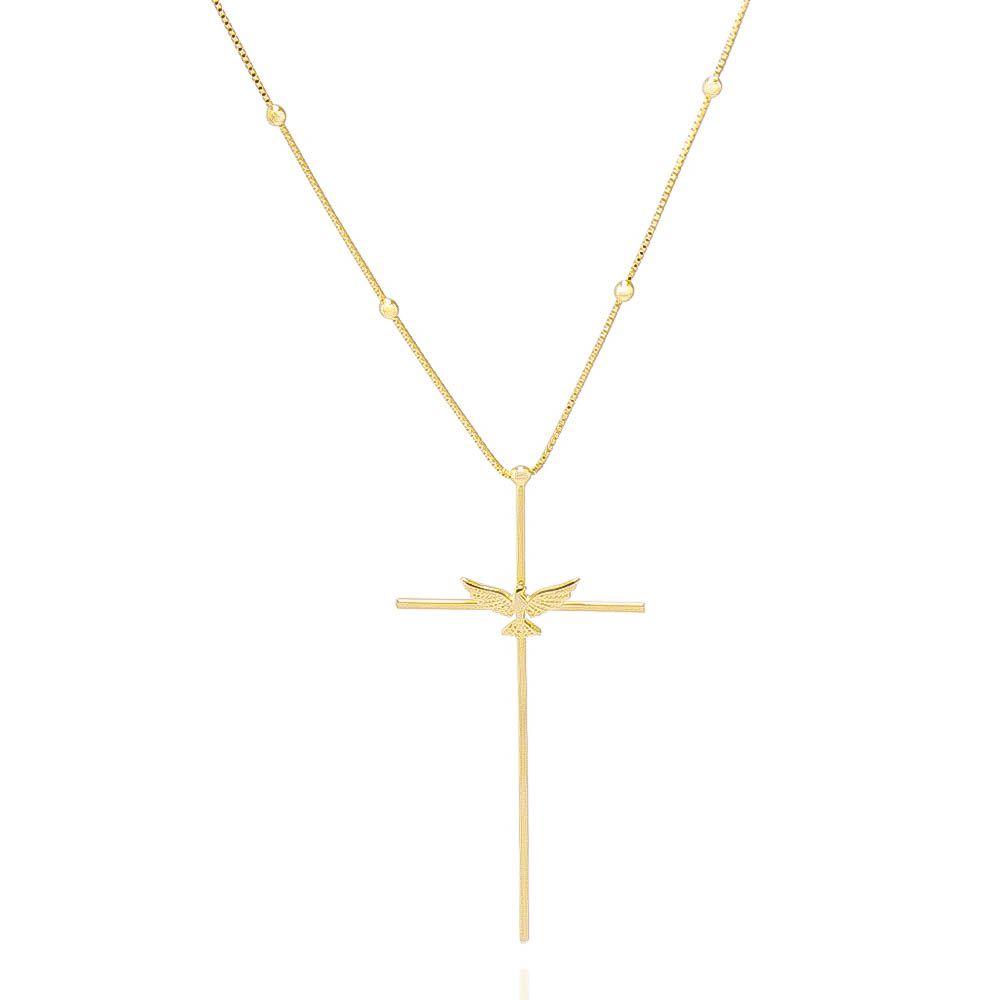 Colar Cruz e Espírito Santo Banho Ouro 18k - Giro Semijoias