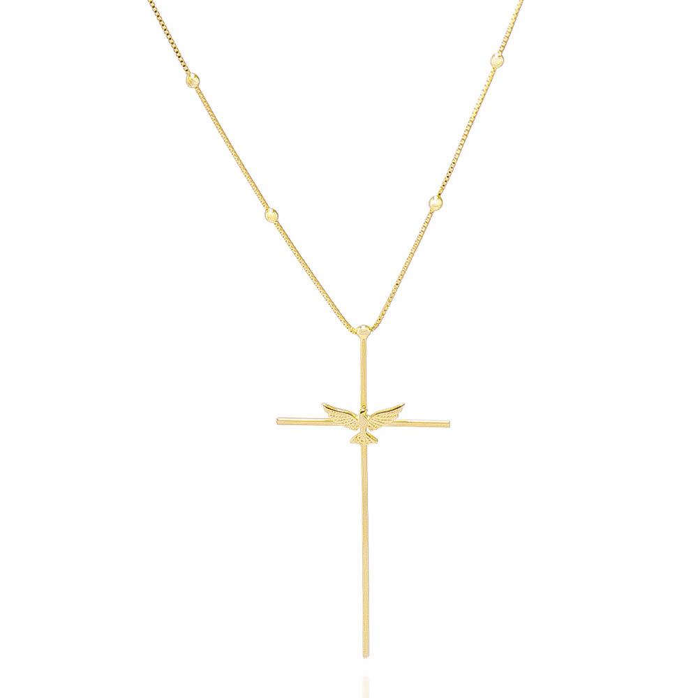 Colar Cruz e Espírito Santo Folheado Ouro 18k