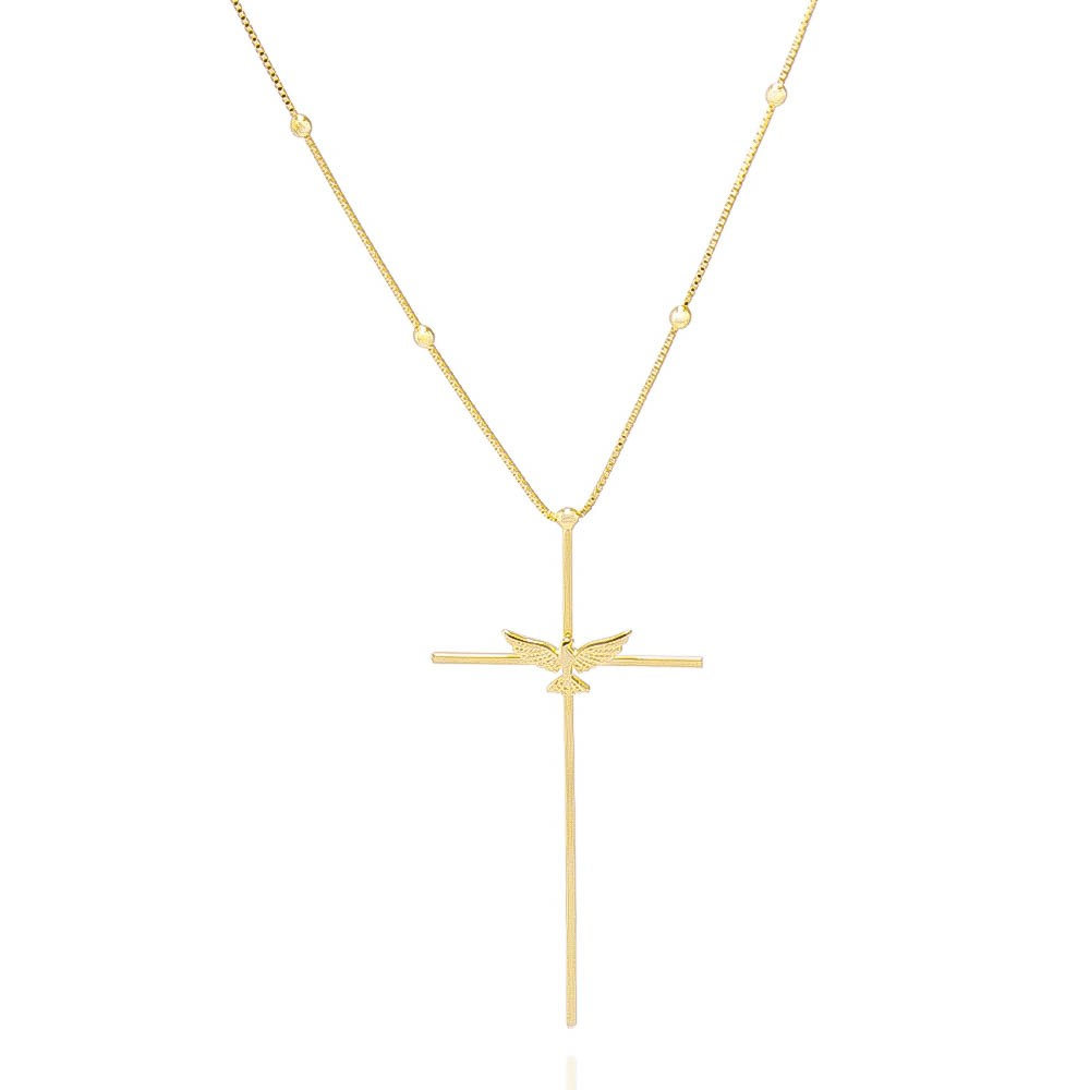 Colar Cruz e Espírito Santo Folheado Ouro 18k - Giro Semijoias