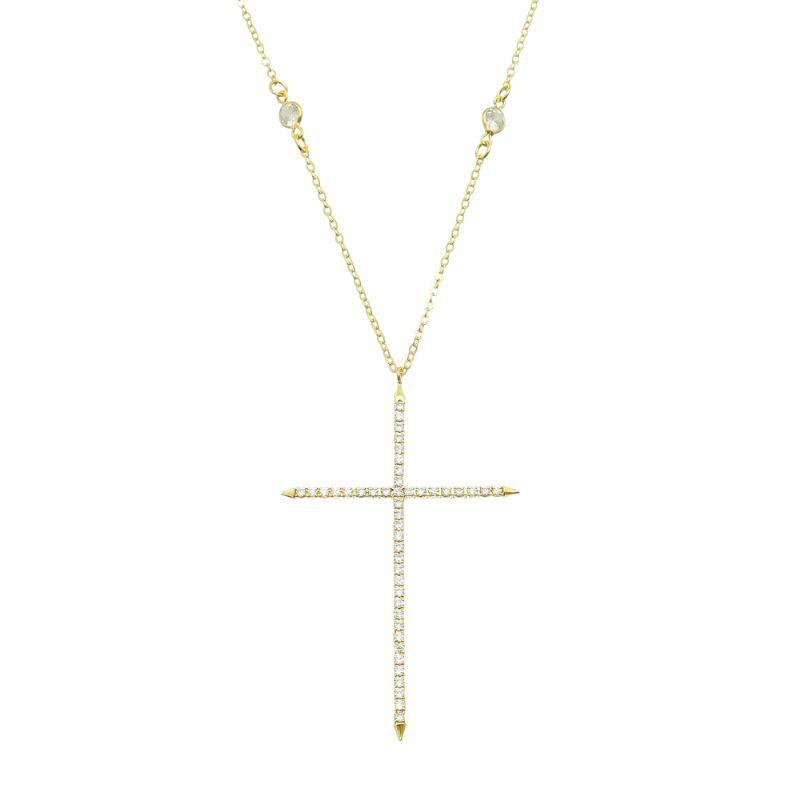 Colar Cruz Zircônia Corrente C/ Ponto de Luz Ouro 18k- Giro Semijoias