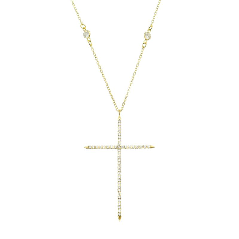 Colar Cruz Zircônia Corrente Com Ponto de Luz Folheado Ouro 18k