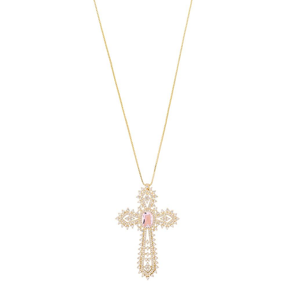 Colar de Cruz Cravejado em Zircônias Incolor com Pedra em Cristal Rosa Folheado em Ouro 18k - Giro Semijoias