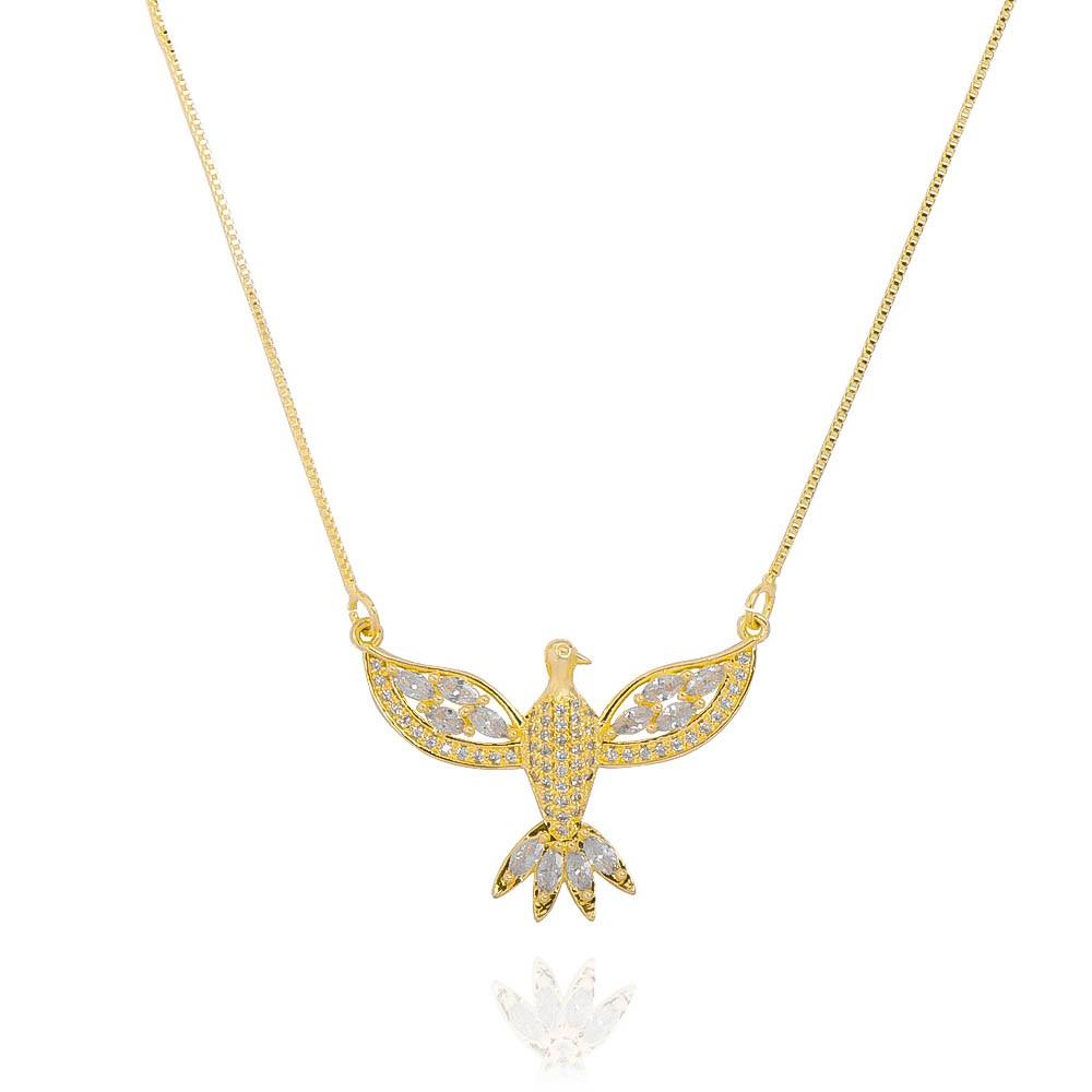 Colar do Divino Espírito Santo com Navetes Cravejado em Zircônias Folheado em Ouro 18k - Giro Semijoias