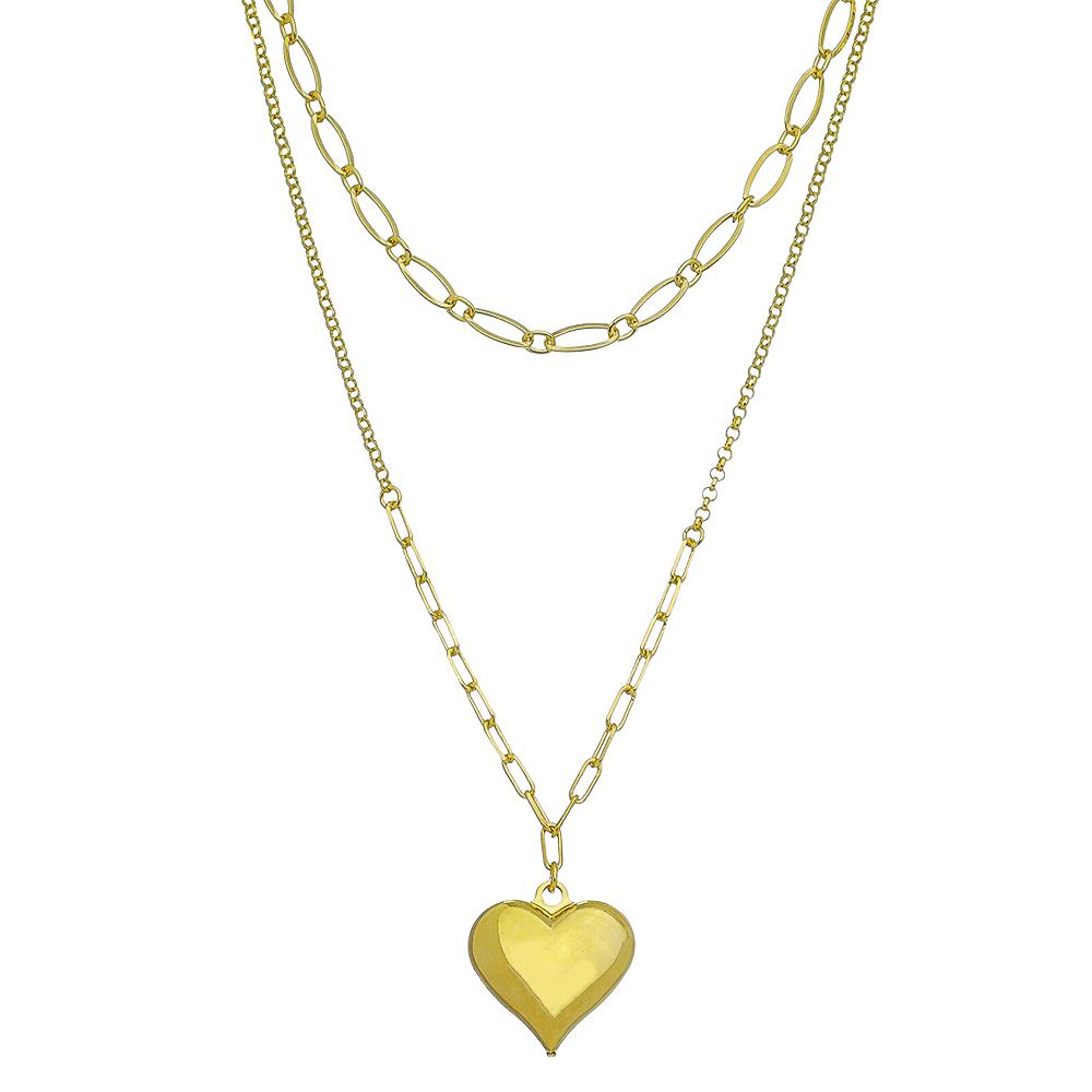 Colar Duplo C/ Coração Liso Ouro 18k