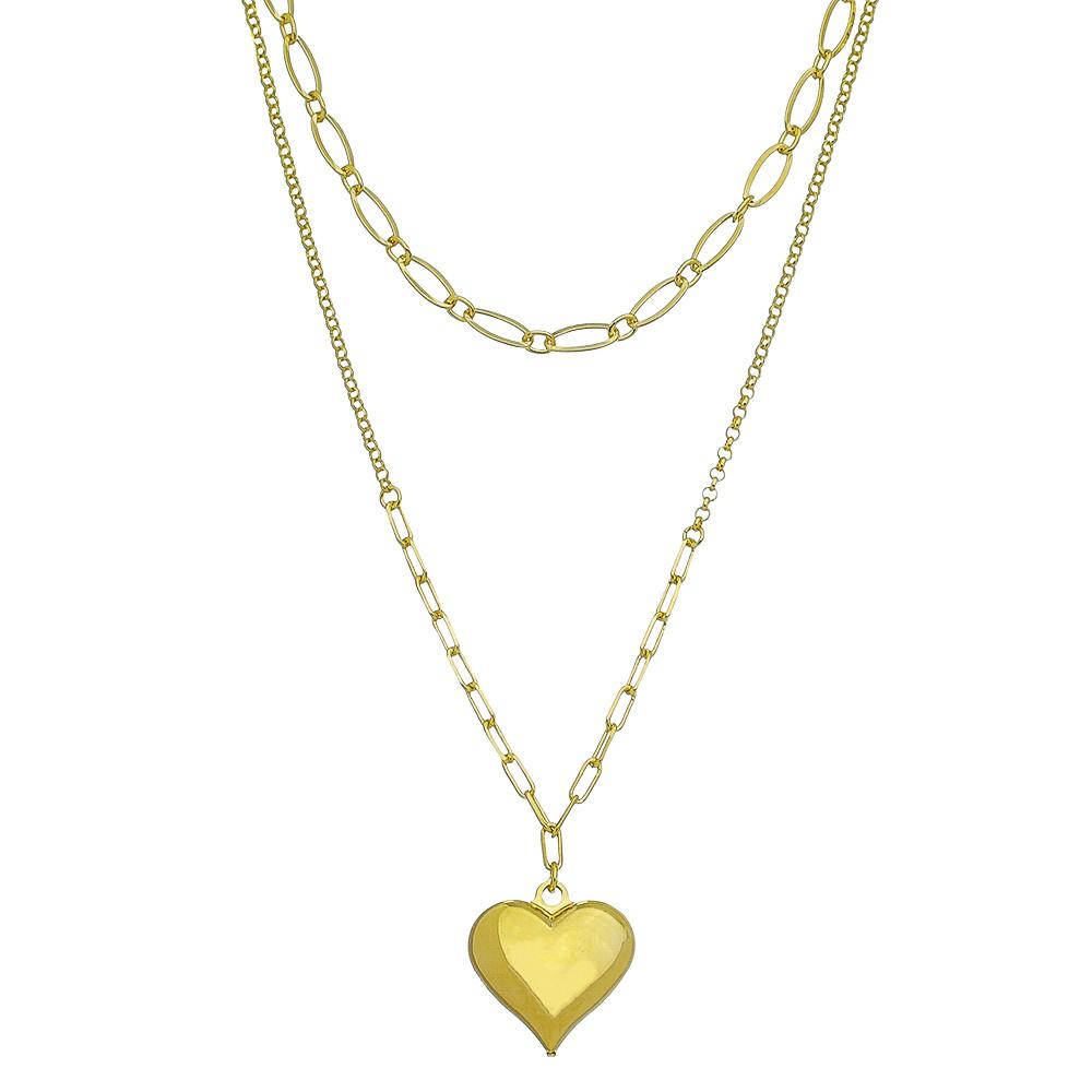 Colar Duplo C/ Coração Liso Ouro 18k- Giro Semijoias