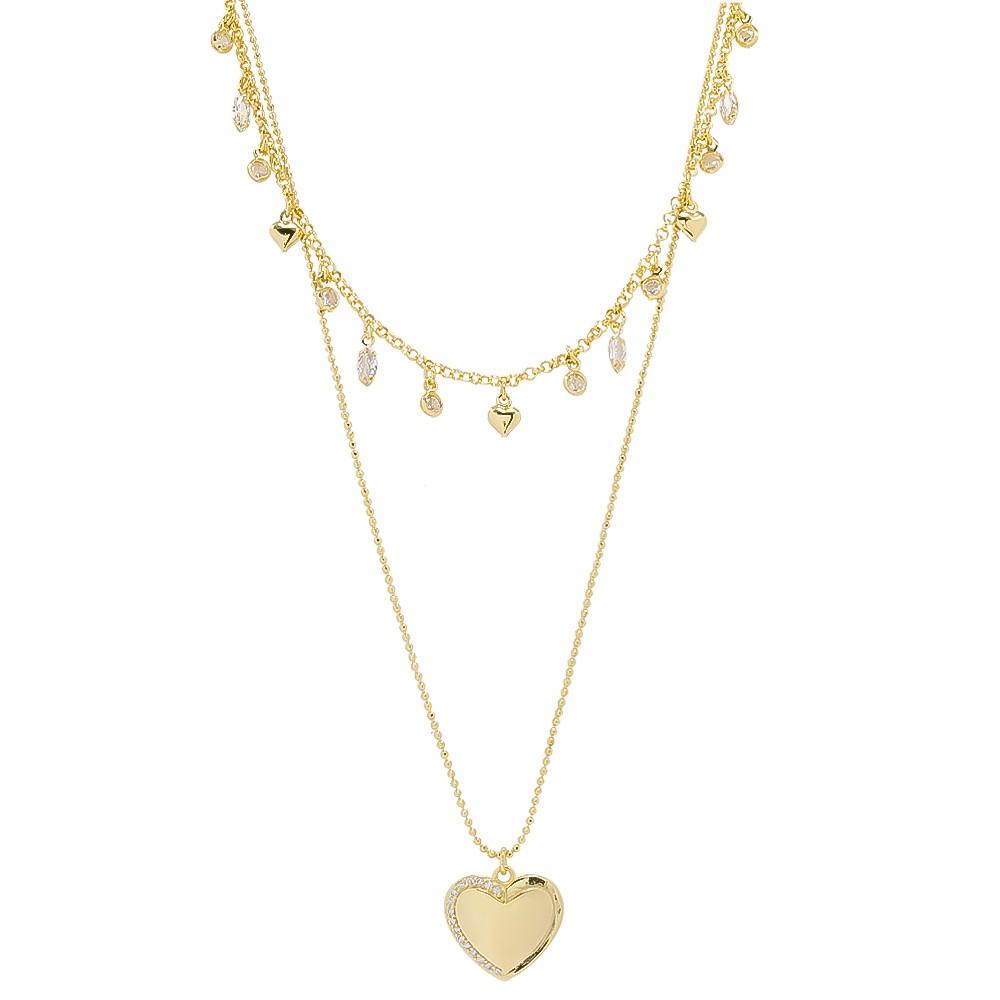 Colar Duplo com Corações e Pontos de Luz Folheada em Ouro 18k - Giro Semijoias