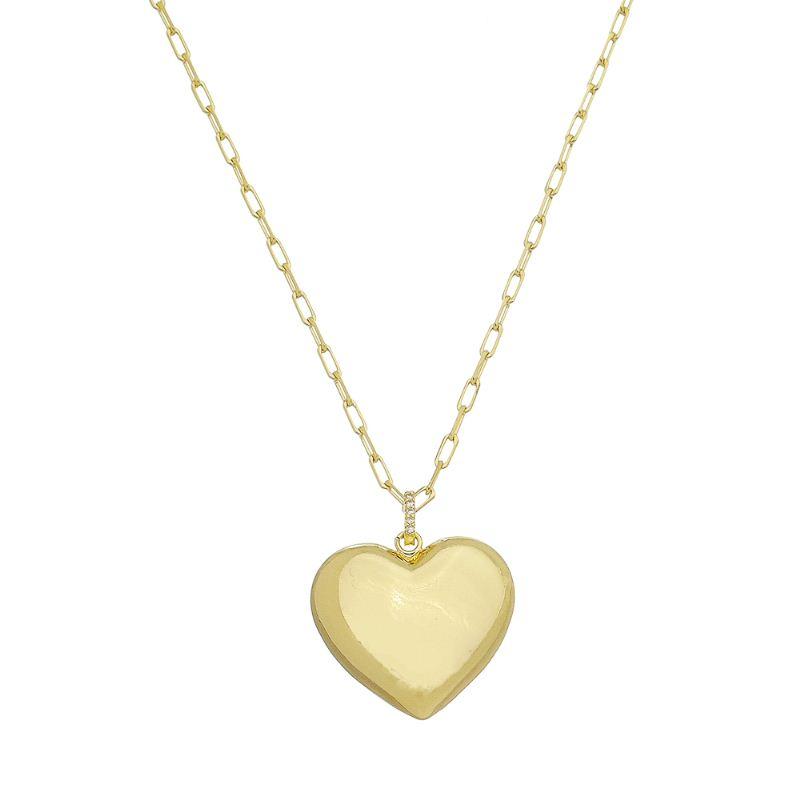 Colar Elo Cartier com Pingente de Coração Vazado Atrás Folheado em Ouro 18k