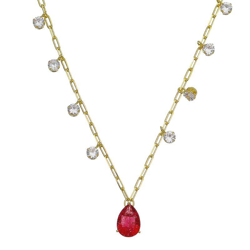 Colar Elo Cartier Gota Pedra Fusion Vermelho e Pontos de Luz em Zircônia Folheado em Ouro 18k