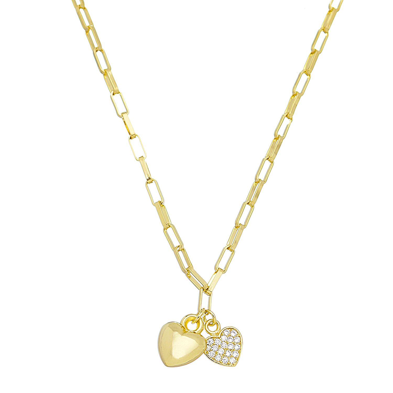 Colar Elo Quadrado 2 Coração Ouro 18k- Giro Semijoias