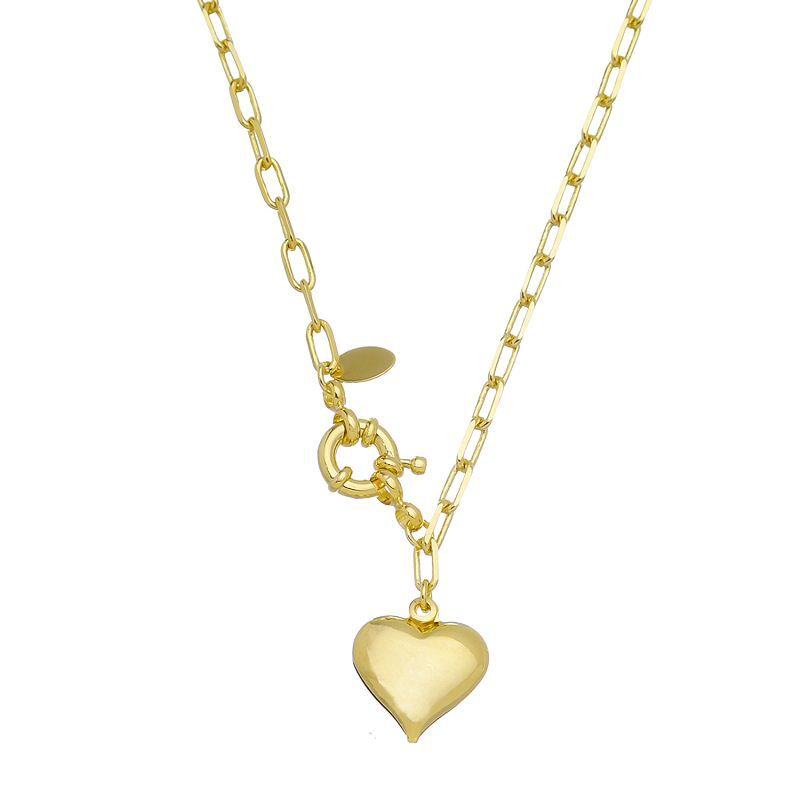 Colar Elo Quadrado Coração Ouro 18k- Giro Semijoias