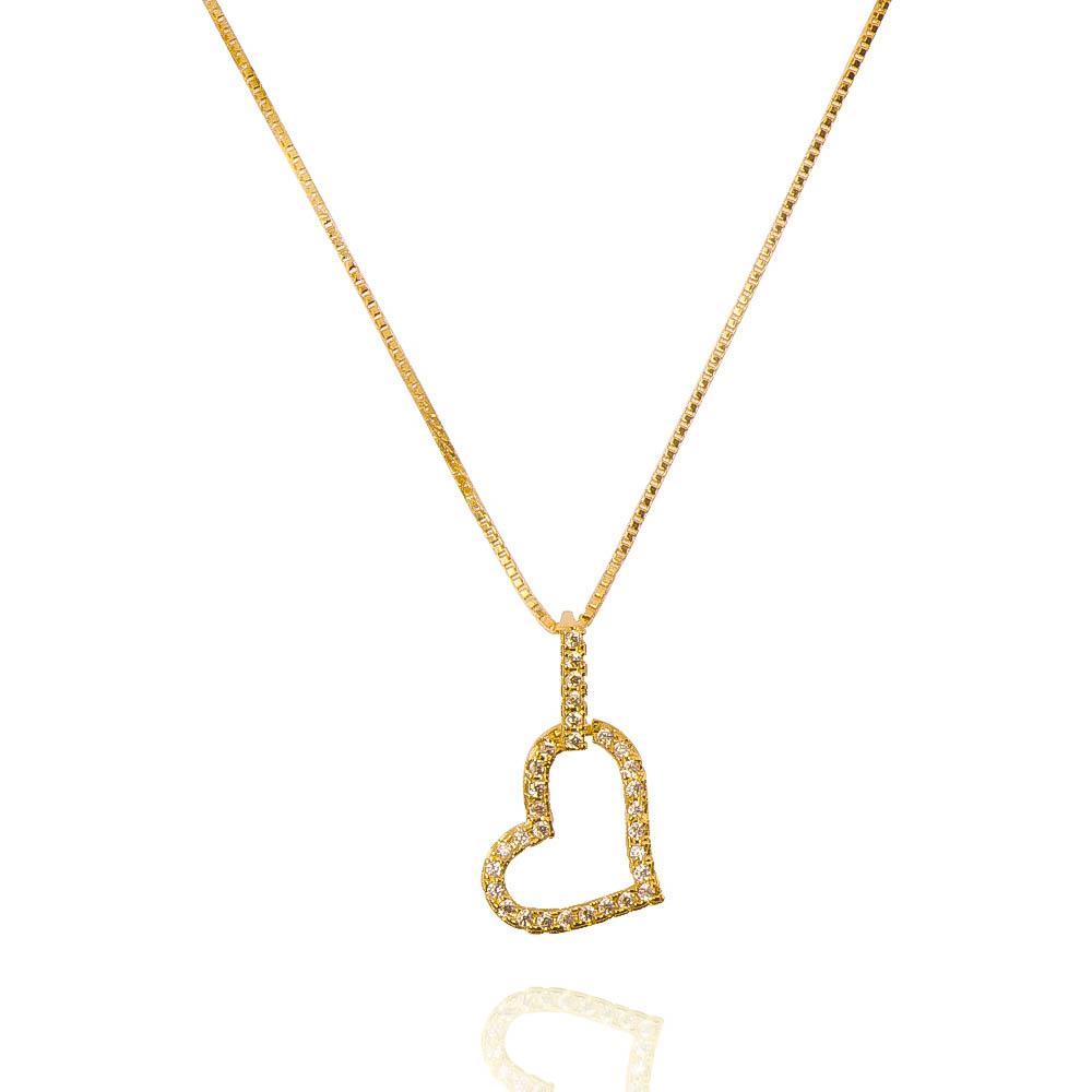 Colar Elo Veneziana com Pingente de Coração Vazado Cravejado em Zircônias Folheado em Ouro 18k