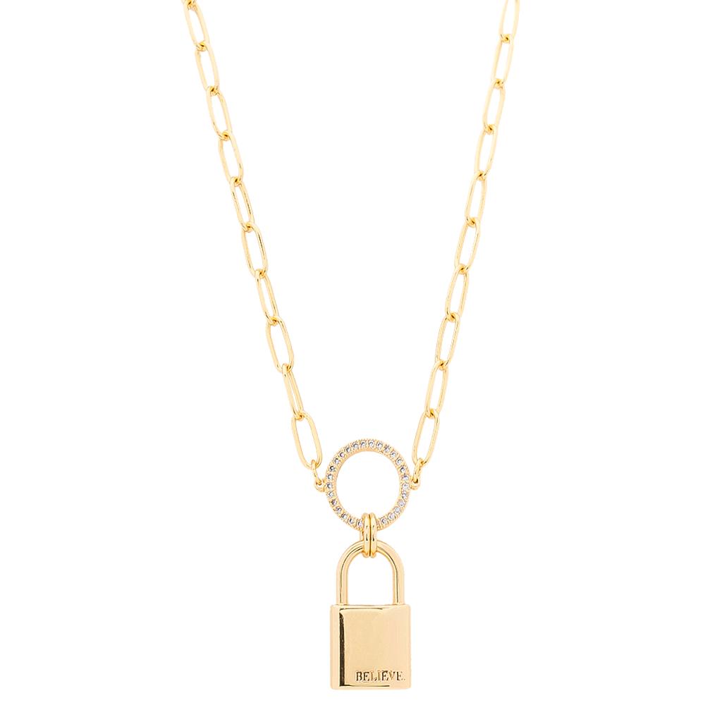 Colar Elos Cartier com Cadeado Cravejado em Zircônias Folheado em Ouro 18k - Giro Semijoias