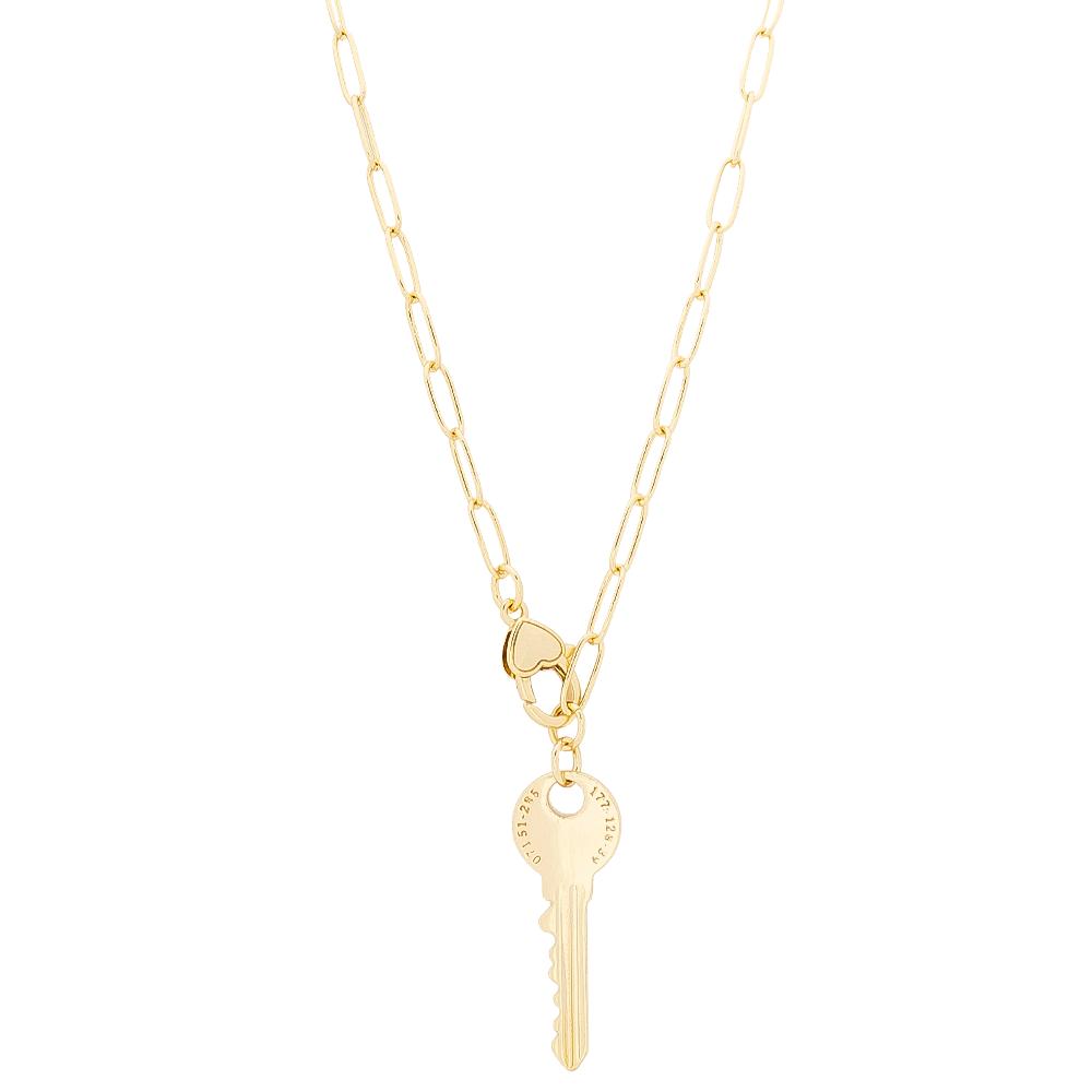 Colar Elos Cartier com Pingente de Chave Folheado em Ouro 18k - Giro Semijoias