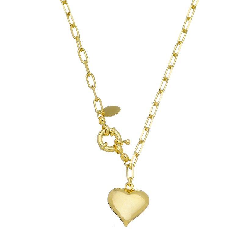 Colar Elos Cartier com Pingente de Coração Folheado em Ouro 18k - Giro Semijoias