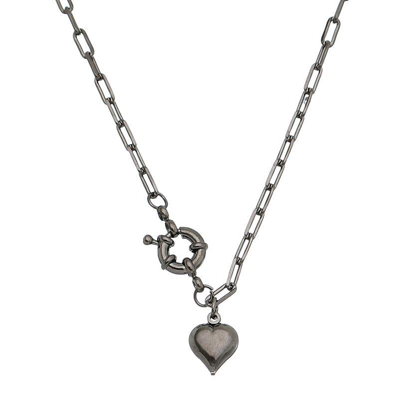 Colar Elos Cartier com Pingente de Coração Folheado em Ródio Negro