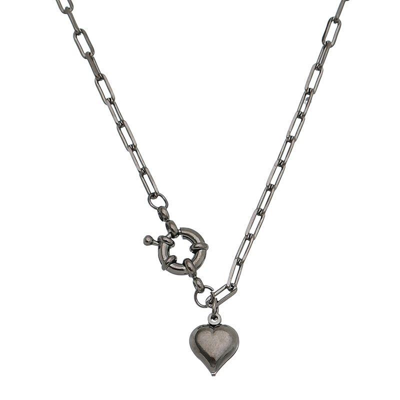 Colar Elos Cartier com Pingente de Coração Folheado em Ródio Negro - Giro Semijoias