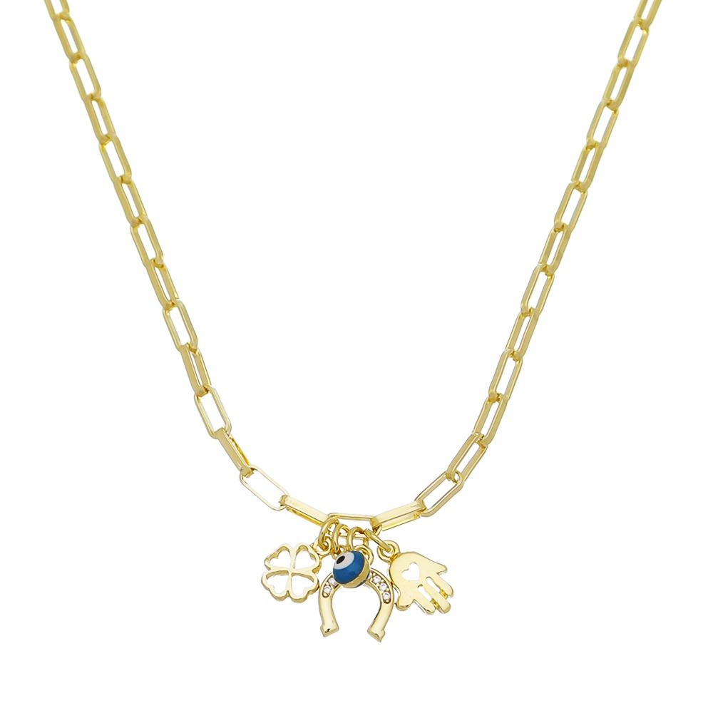 Colar Elos Cartier com Pingentes de Amuletos da Sorte Folheado em Ouro18k