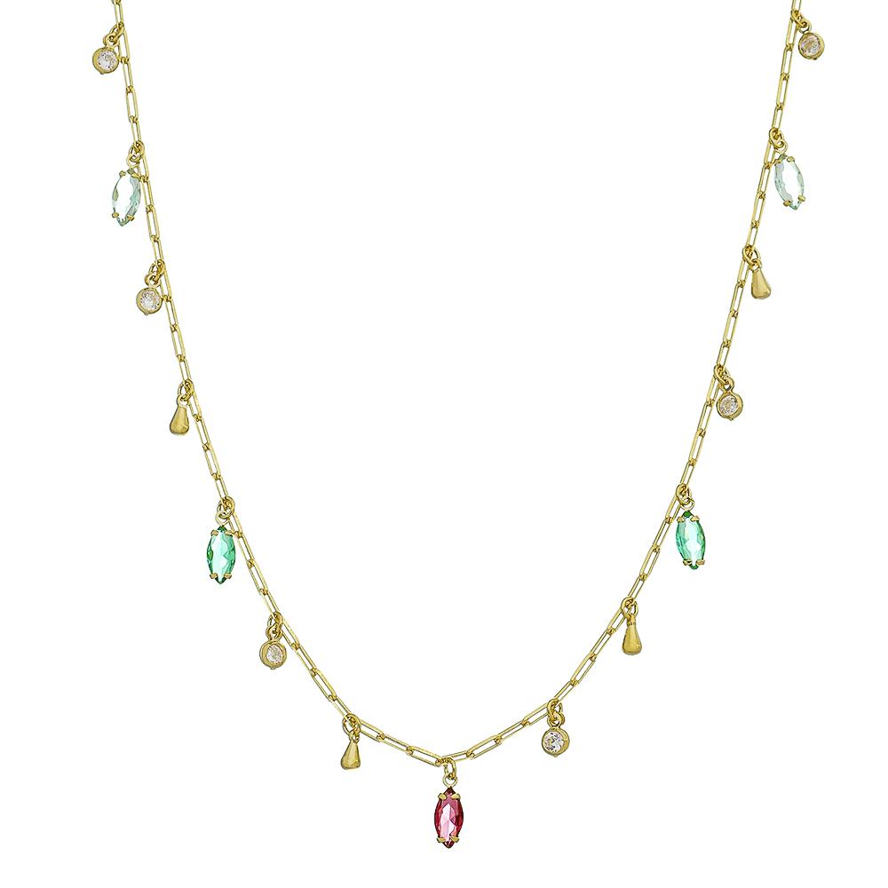 Colar Elos Cartier e Pingentes Coloridos com Ponto de Luz em Zircônia Folheado em Ouro 18k
