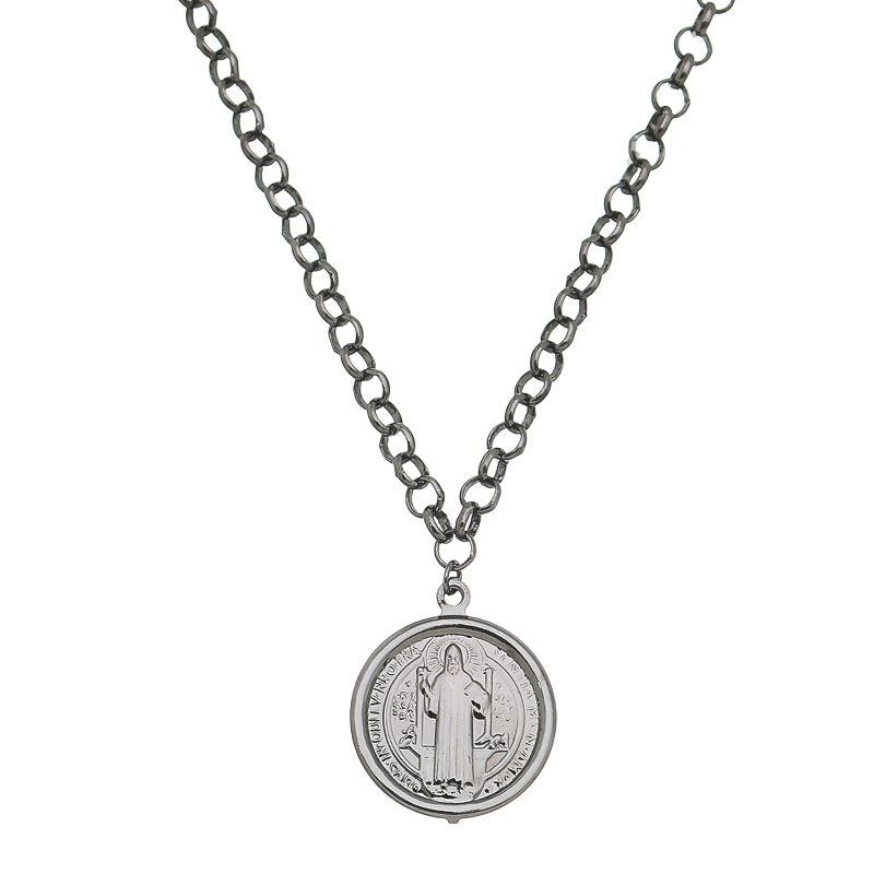 Colar Elos Português com Medalha de São Bento Folheado em Ródio Negro