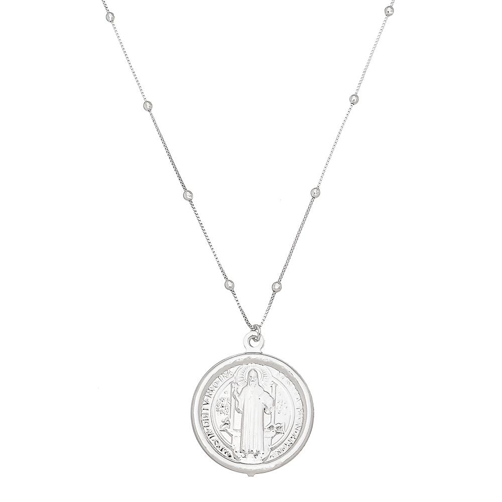 Colar Elos Veneziana com Bolinhas e Medalha de São Bento Folheado em Ródio Branco