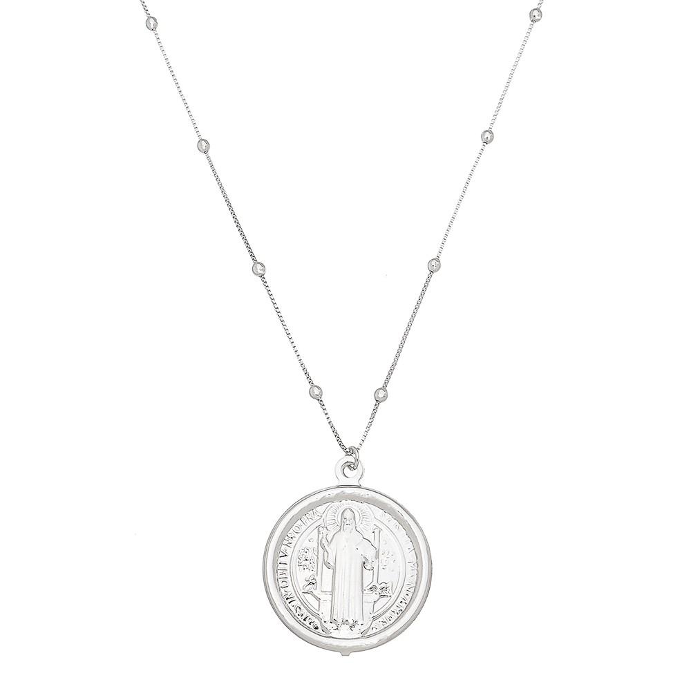 Colar Elos Veneziana com Bolinhas e Medalha de São Bento Folheado em Ródio Branco - Giro Semijoias