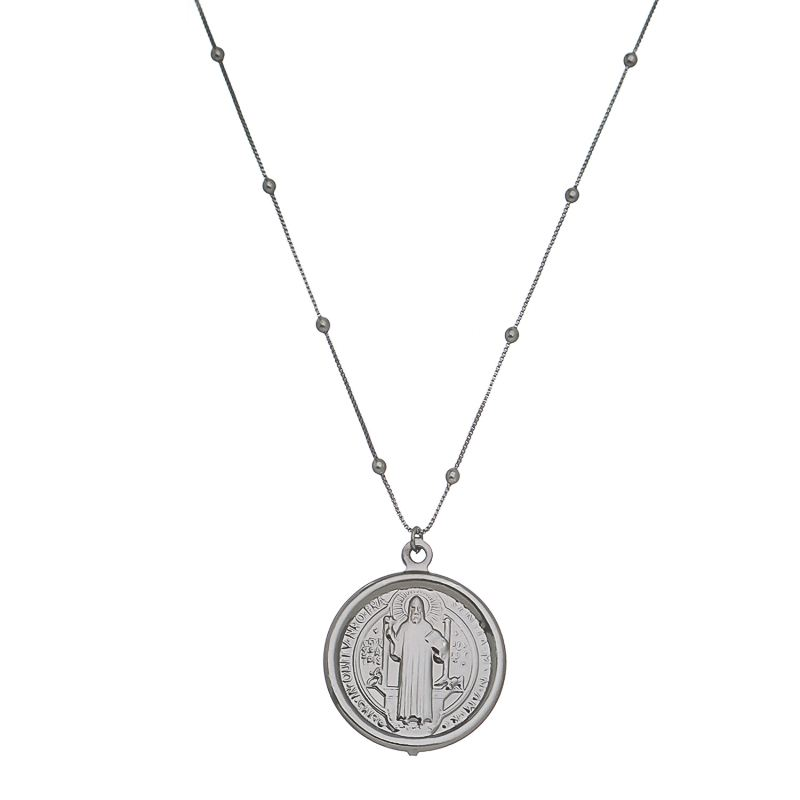 Colar Elos Veneziana com Bolinhas e Medalha de São Bento Folheado em Ródio Negro
