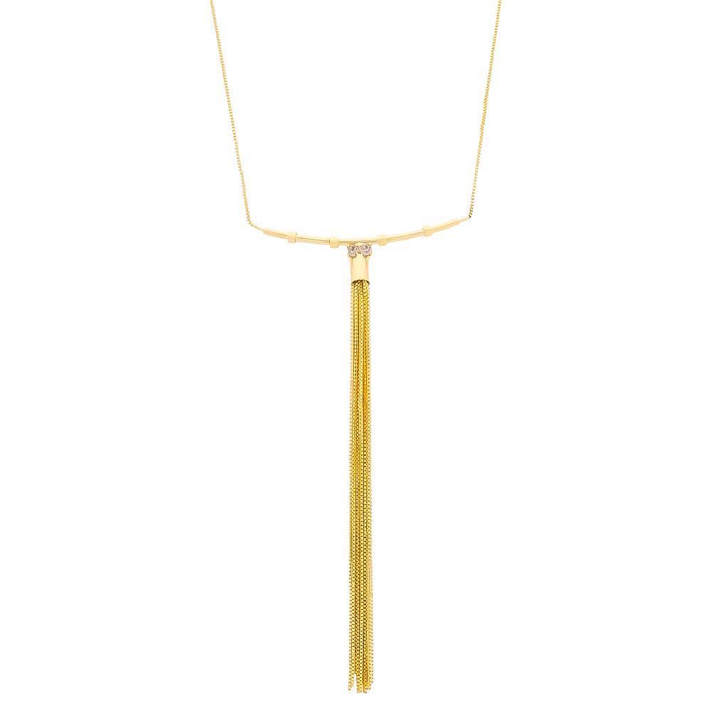 Colar Elos Veneziana com Franja e Pedras em Zircônia Folheado em Ouro 18k