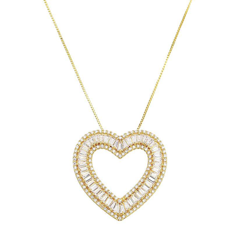 Colar Elos Veneziana com Pingente Coração com Navetes de Zircônias Folheado em Ouro 18k