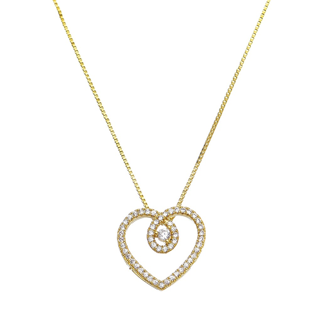 Colar Elos Veneziana com Pingente Coração em Zircônias Folheado em Ouro 18k - Giro Semijoias