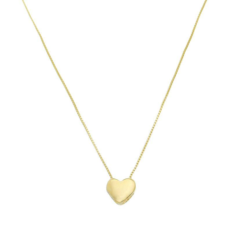 Colar Elos Veneziana com Pingente de Coração Liso Folheado em Ouro 18k
