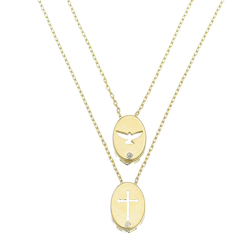 Colar Escapulário Oval Espírito Santo e Cruz Cravejado em Zircônias Folheado em Ouro 18k - Giro Semijoias